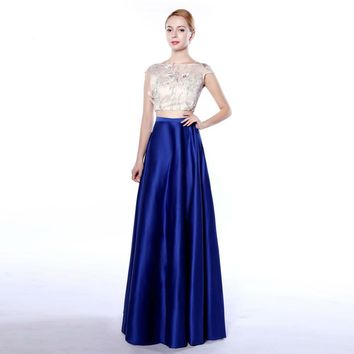 Long Cap sleeve A-Line Evening Gowns with Pockets