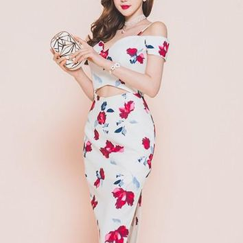 Floral Print Slash Neck Women's Sheath Dress