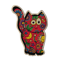 Artist Dan Morris Cat Kitten Daisy Iron On Patch Pink