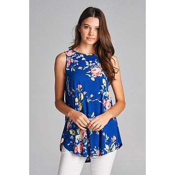 Royal Garden Floral Sleeveless Top