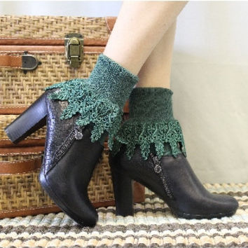 Signature Lace Sock, Lace socks, cuffs, socks,boot socks, socks, Hunter Green | SLC2