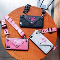 PINK Glitter Embroidery Leather Case for iPhone