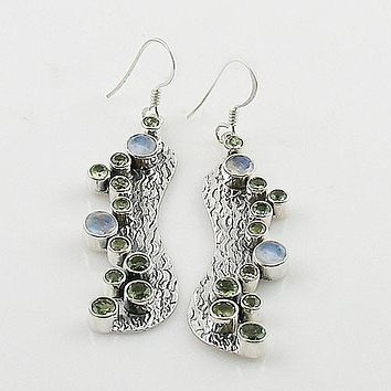 Peridot & Moonstone Sterling Silver Bubble Earrings
