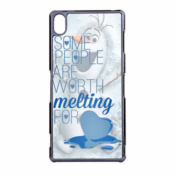 Some People Are Worth Melting For Olaf Funny Quote Sony Xperia Z3 Case