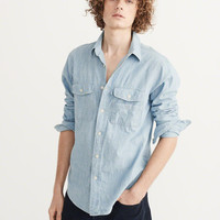 Mens Chambray Woven Shirt | Mens New Arrivals | Abercrombie.com
