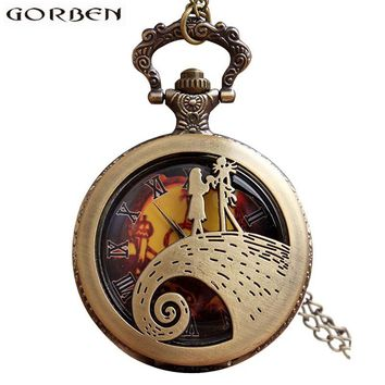 Jack Skellington Sally Tim Burton's Nightmare Before Christmas Pocket Watches Vintage Bronze Pendant Chain Clock Women Men Gift