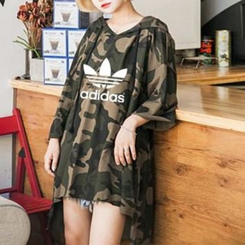 """Adidas"" Women Loose Casual Personality Camouflage Print Long Sleeve Hooded Sweater Irregular Dress"