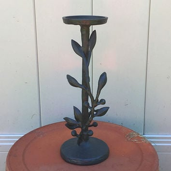 Kohl's Leaf and Berry Aluminum Pillar Candle Holder