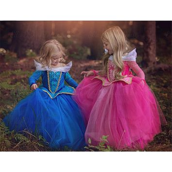 Kids Girls Costumes Carnival Halloween Princess Aurora Dress Fairy Fancy Dress Role-play Outfits Size 4-10 Y Wear for Christmas