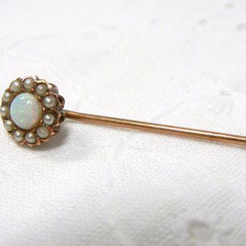 Opal stick pin with seed pearls / genuine opal / Rose gold / gift / Gold stick pin with Round Opal / Mother / Autumn