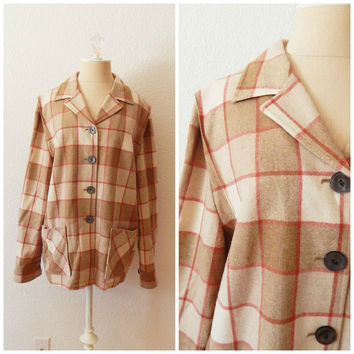 Womens Vintage Cream Red Pendleton Fall Winter Button Up Wool Coat Sweater