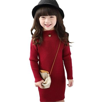 New 2017 Baby Girls Sweaters Dress Long Style Sweaters Kids Autumn Winter Children Clothing Slim Knit Girls Dress DQ650