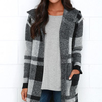 A Little Tenderness Black and Grey Plaid Sweater Jacket