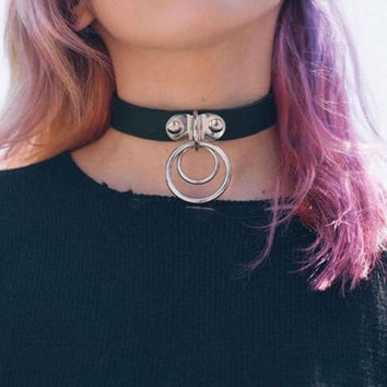 Hip-hop style metal ring collar cortex choker XR-908C1608