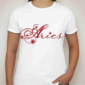 "Zodiac Collection ""Aries"" and ""Taurus"" Gildan Ladies 100% Cotton T-shirt available in sizes small to 3XL."