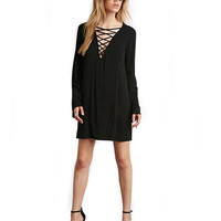 Black Lattice A-line Dress