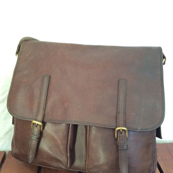 Vintage Fashionable Authentic Timberland Brown Leather Briefcase Messenger Bag Satchel Made in Turkey