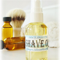 MEN'S SHAVE OIL 2 oz - Orange & Cedarwood Essential Oils, beard oil, shaving oil, shaving cream, shaving soap, mustache, preshave oil