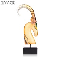Tooarts African Goat Figurine Metal Feng Shui Figurine Home Decor Solemn Craft Gift For Home Office