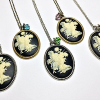 Garden Fairy Cameo Necklace: cameo resin pendant with crystal