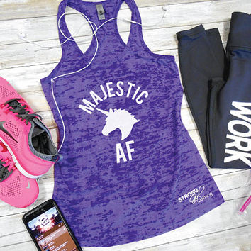 Majestic AF Burnout Tank, Funny Running Tank. Jogging Tank. Cardio Tank Top Gym Shirt. Racerback Tank. Majestic AF. Unicorn Workout Tank.