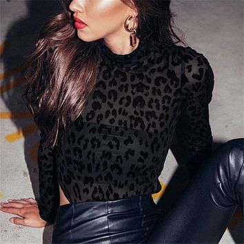 Women Fashion Leopard Gauze  Perspective Long Sleeve Bodysuit Tops