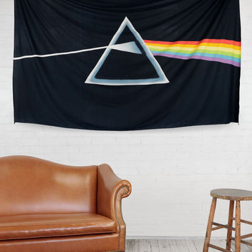 Handmade Cotton 3D Pink Floyd Dark Side of Moon Tapestry Tablecloth Spread 60x90