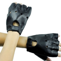 Black Pleather Fingerless Biker Gloves