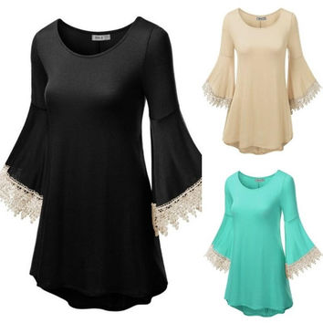 Women's Boho Style Batwing Long Sleeves Crochet Casual Dress Cover Ups Pullovers = 1946872516