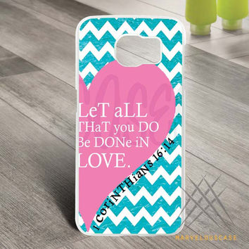 Pink Heart Chevron Bible 1 Corinthians  Custom case for Samsung Galaxy