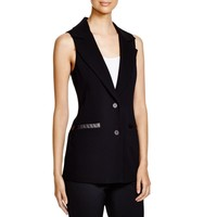 Dylan Gray Womens Faux Leather Trim Two-Button Suit Vest