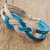 Nautical rope bracelet for boy friend, cotton rope bracelet, sea Knot rope bracelet, Best Gift for father dad him Personalized Jewelry
