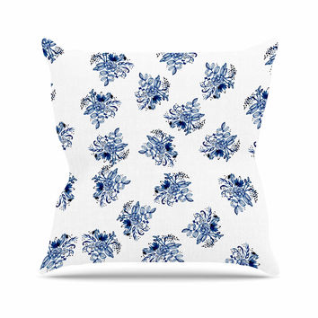 "Jennifer Rizzo ""Blue Garden Flowers"" Floral White Outdoor Throw Pillow"