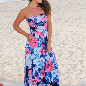 Blue and Hot Pink Floral Strapless Maxi Dress