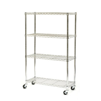 Contemporary 3-Tier Folding Metal Storage Shelves