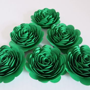 "Green Roses, 3"" Paper Flowers, Set of 6 Wedding Flowers, Bridal Shower Decor, Birthday Party Decorations, St. Patrick's Day Table Centerpiece"