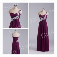 Newest Bridesmaid/Party/Evening/­Prom/Formal Dress Chiffon 2014 A-Line Sweetheart Appliques One-shoulder Chiffon Lace-up Ruffle Floor-length