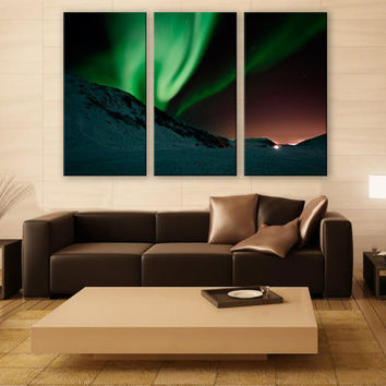 Northern Lights Aurora Borealis Print 3 Panels Print Wall Decor Fine Art Nature Photography Repro Print for Home and Office Wall Decoration