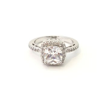 Princess Crystal Silver Ring