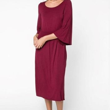 Maya 3/4 Bell Sleeve Midi Dress by EVERLY