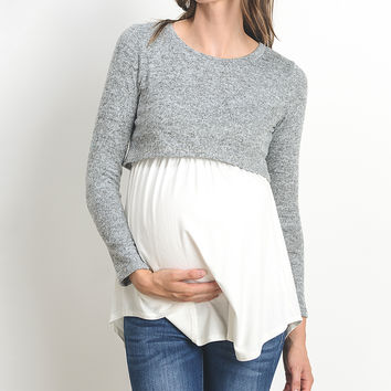 Gray & Ivory Color Block Maternity/Nursing Top