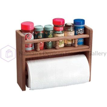 Whitecap Teak Paper Towel Holder w/Spice Rack
