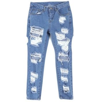 Deeply Distressed Straight Leg Jeans