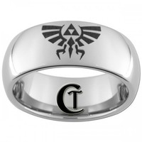 8mm Tungsten Carbide Legend of Zelda Skyward Sword Crest Laser Design | CustomTungsten - Jewelry on ArtFire