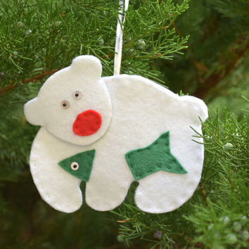 Polar Bear christmas ornament Felt Teddy bear ornament Christmas decor Xmas Ornaments Holiday Christmas Tree Decor Decoration New Year