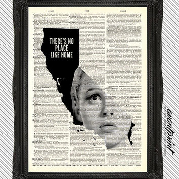 Theres No Place Like Home California AvantPrint Original Print on Unframed Upcycled Bookpage