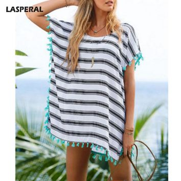 2017 New LASPERAL Women Loose Summer Beach Party Cover-Ups White Striped Pattern Hollow Out Blue Tassel Swim Bathing Suits Femme