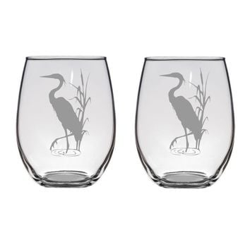 Blue Heron Engraved Glasses, Bird Glass, Bird Gift, Bird Lover Wetlands FREE PERSONALIZATION