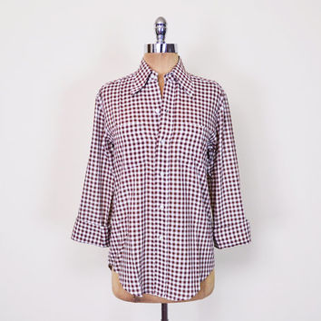 Best women 39 s gingham shirt products on wanelo for Ladies brown check shirt