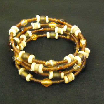 Designer Fashion Bracelet Beaded/Strand Wood Metal Female Adult Browns -- Preowned